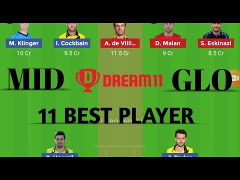 Repeat GLO vs MID 21st Match 2019 | Dream 11 Team | Playing 11 | T20