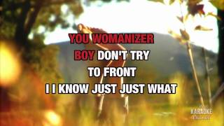 "Womanizer in the style of ""Britney Spears"" karaoke video with lyrics (no lead vocal)"