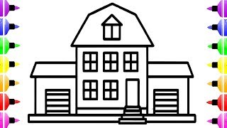 How to Draw a House Easy For Kids   House Coloring Page Drawing for Kids   House Coloring Book