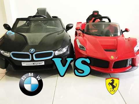 Bmw i8 Spyder vs Ferrari LaFerrari Ride On Car Review 2017