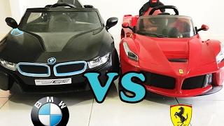 Bmw i8 Spyder vs Ferrari LaFerrari Ride On Car Review 2017