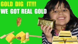 Gold Hunt Giant Surprise Toy Gold Dig it We Find Real Gold - Video For Children