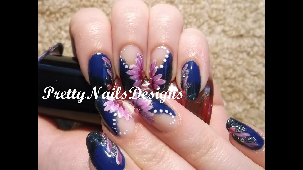 Pink Flowers On Blue Gradient Nail Art Zhostovo Technique Tryout