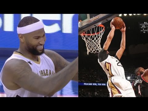 Anthony Davis Spin Oop From DeMarcus Cousins! Blazers vs Pelicans