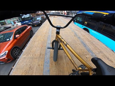 RIDING BMX ON TOP OF MOVING 18 WHEELERS IN NYC 3