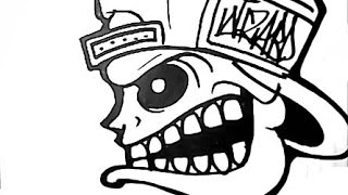 How to Draw a Angry SKULL - graffiti character.wmv