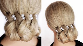😱 EASY Bridal Updo Tutorial. 😱 Wedding Prom Hairstyles For Medium to Long Hair