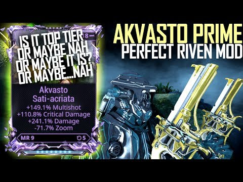 Warframe Akvasto Prime With A Meme Tier Riven Damage Multishot