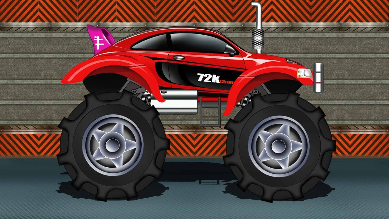 Monster Truck Sports Car Monster Truck Kids Car Race Youtube