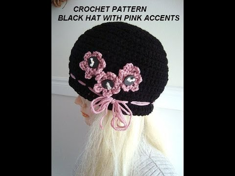 Crochet Pattern Diy Black Hat With Pink Flowers Make All Sizes