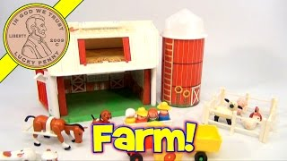 Vintage 1981 Fisher-Price Farm & Silo #915 (4th Generation) Green Plastic Base Barn Toy