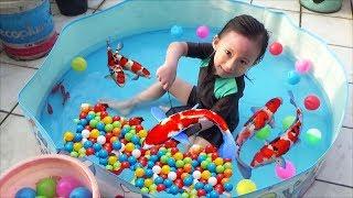 Menangkap Ikan Dan Mandi Bola Sama Ikan - Kids Fun Fish ♥ Baby Cute Catching Fish