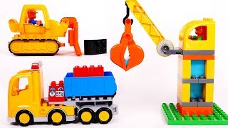 Big Construction Site Building Blocks for Children Learn Colors