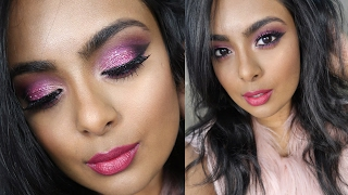 Valentine's Day Sparkly Pink Makeup - Sexy Glamorous Date Night Makeup (on Tan Brown Indian Skin)