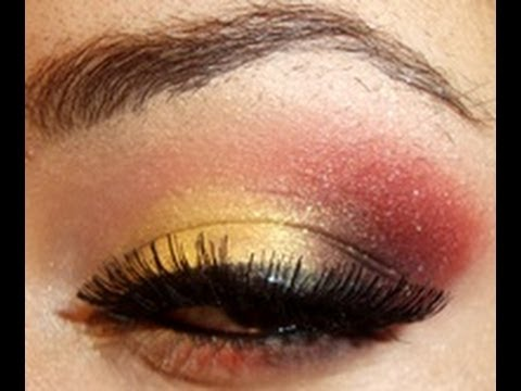 Gold And Red Festive Holiday Makeup Tutorial