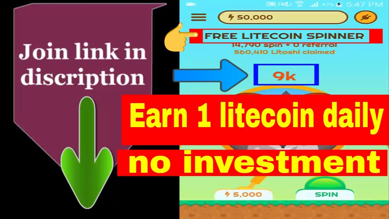 Earn free 1 Litecoin daily 2019| unlimited spin and earn| 100% legit|  instant withdraw|no investment