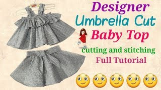 New Design Umbrella cut Top for Baby Girl Cutting and stitching // by simple cutting