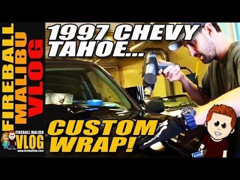 THE WRAP INSTITUTE VINYL WRAPS A 1997 CHEVY TAHOE - FIREBALL MALIBU VLOG 700