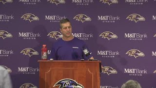 Baltimore Ravens coach John Harbaugh speaks after playoff loss to Titans