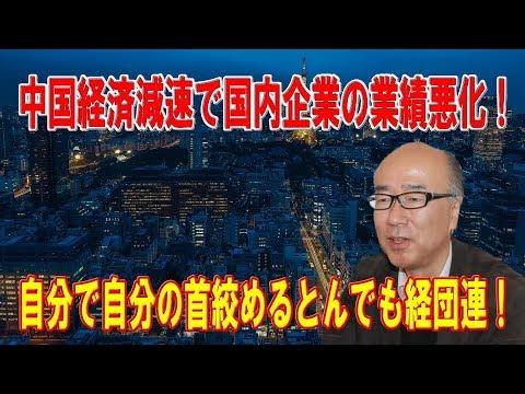 中国経済減速で国内企業の業績悪化!率先して金融緩和するべき日本銀行!自分で自分の首絞めるとんでも経団連!【田中秀臣】