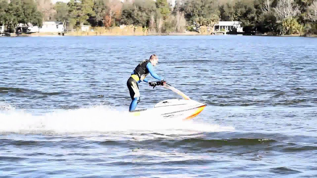 First Flat Water Back Flip On Stand Up Jet Ski Youtube
