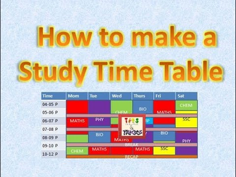 How To Make A Study Timetable Time Table