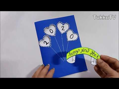 2020 New Year Card Making Handmade Easy   Happy New Year Card Design   TukkuTV