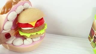 Play Doh Dişçi Aç Adam Hamburger ve Pizza Yiyor Küçük Dişler Dişlerini Fırçalıyor Play Doh Dişçi
