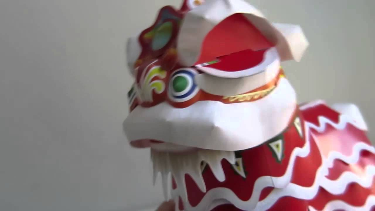 Chinese Dancing Lion Paper Craft Youtube