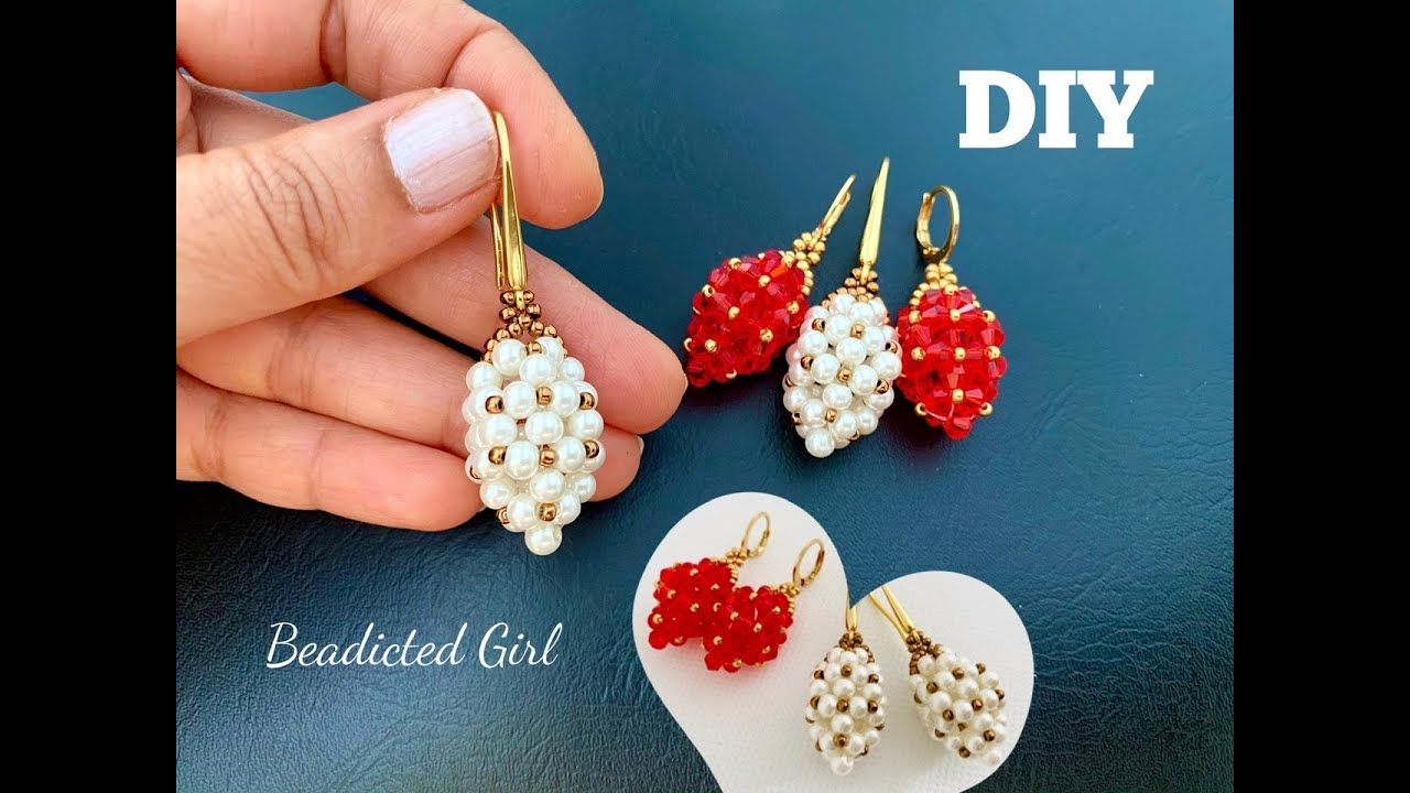 Beaded Strawberry Earrings || How to make Beaded Bead || Pearl Earrings