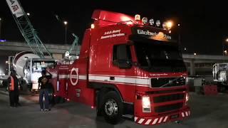 VOLVO FM12 420 GLOBETROTTER 4X2 Recovery Truck on duty at Kampung Pandan MRT. Kuala Lumpur.