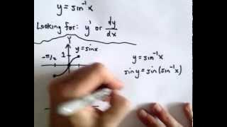 the derivative of inverse sine or y arcsin x