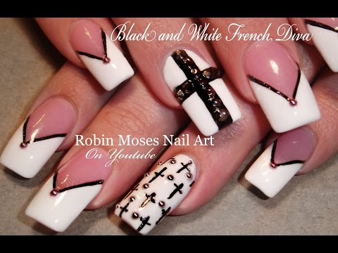 Black and White Crosses Nail Art Design Tutorial