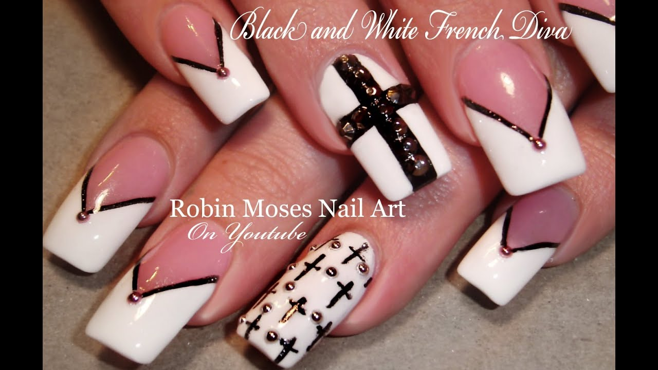 Black and White Nails | Chevron Tips & Crosses Nail Art Design Tutorial -  YouTube - Black And White Nails Chevron Tips & Crosses Nail Art Design