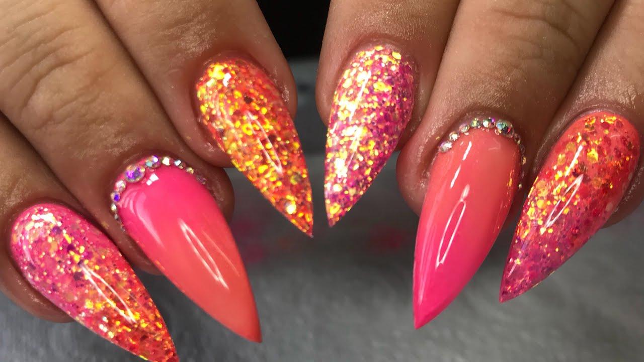 orange & pink ombr design acrylic