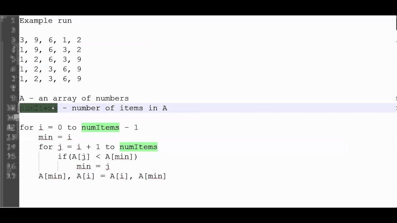 Selection Sort Algorithm