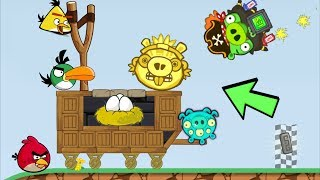 Bad Piggies - MIGHTY EAGLE HELP PIGGIES ATTACK ANGRY BIRDS!!