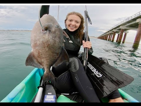 SPEARFISHING GIANT TRIGGERFISH Off Of A PIER From A KAYAK