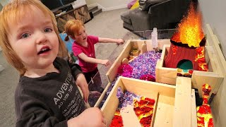 NEW PET HOUSE tour!!  Adley & Niko make a fun play park with VOLCANO don't touch the Lava Floor! 🌋