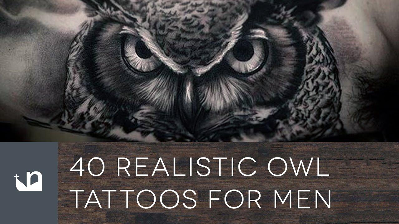 40 realistic owl tattoos for men doovi. Black Bedroom Furniture Sets. Home Design Ideas