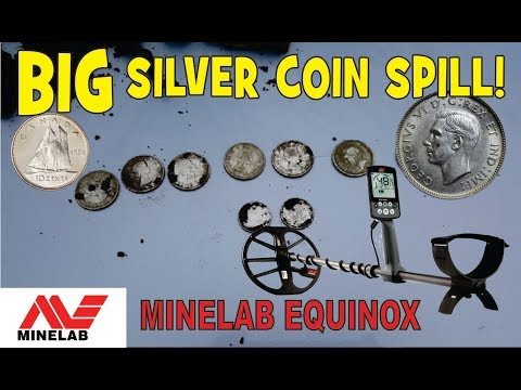 BIG Silver Coin Spill !! OMG! - Metal Detecting Canada - Minelab Equinox Silver Coins