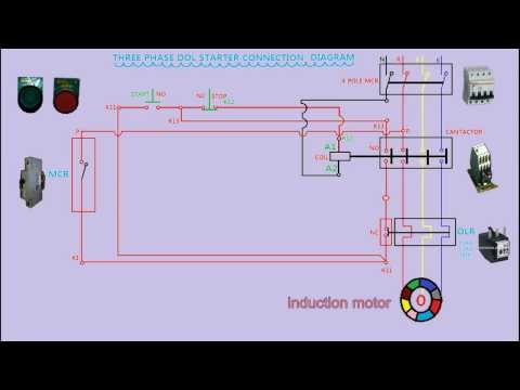 dol starter connection diagram in animation