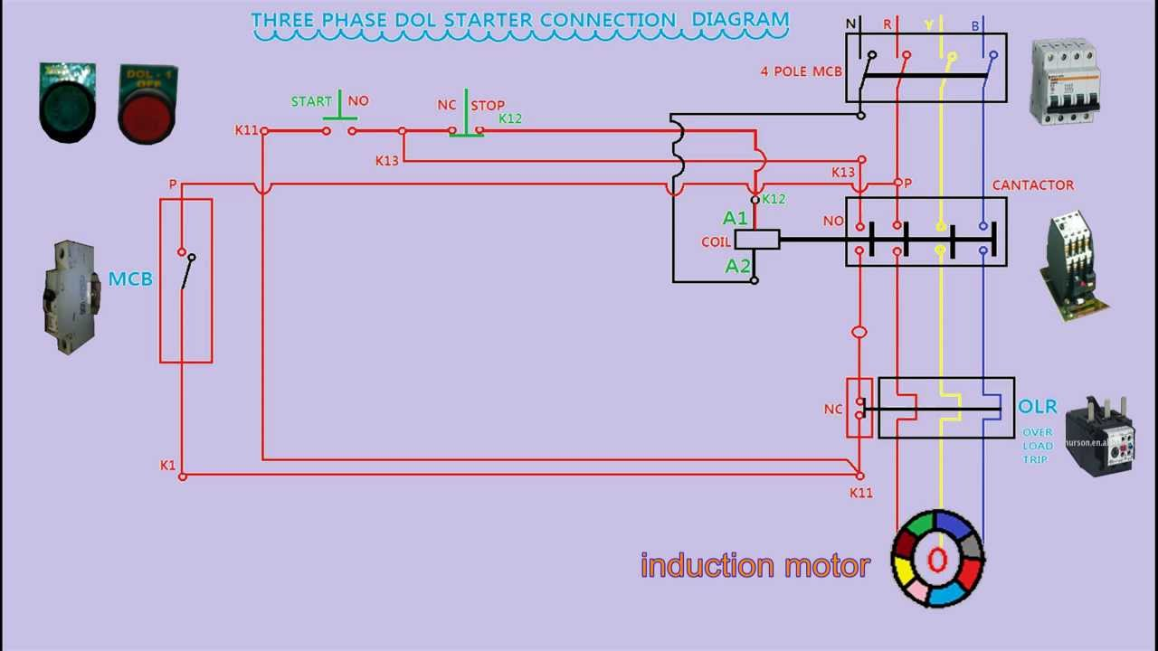 Dol Starter Connection Diagram In Animation Youtube Motor Contactor Wiring