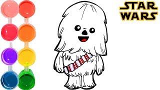 How to draw & color Star Wars: The Last Jedi Baby Chewbacca | learning tutorial | kids learn lol fun