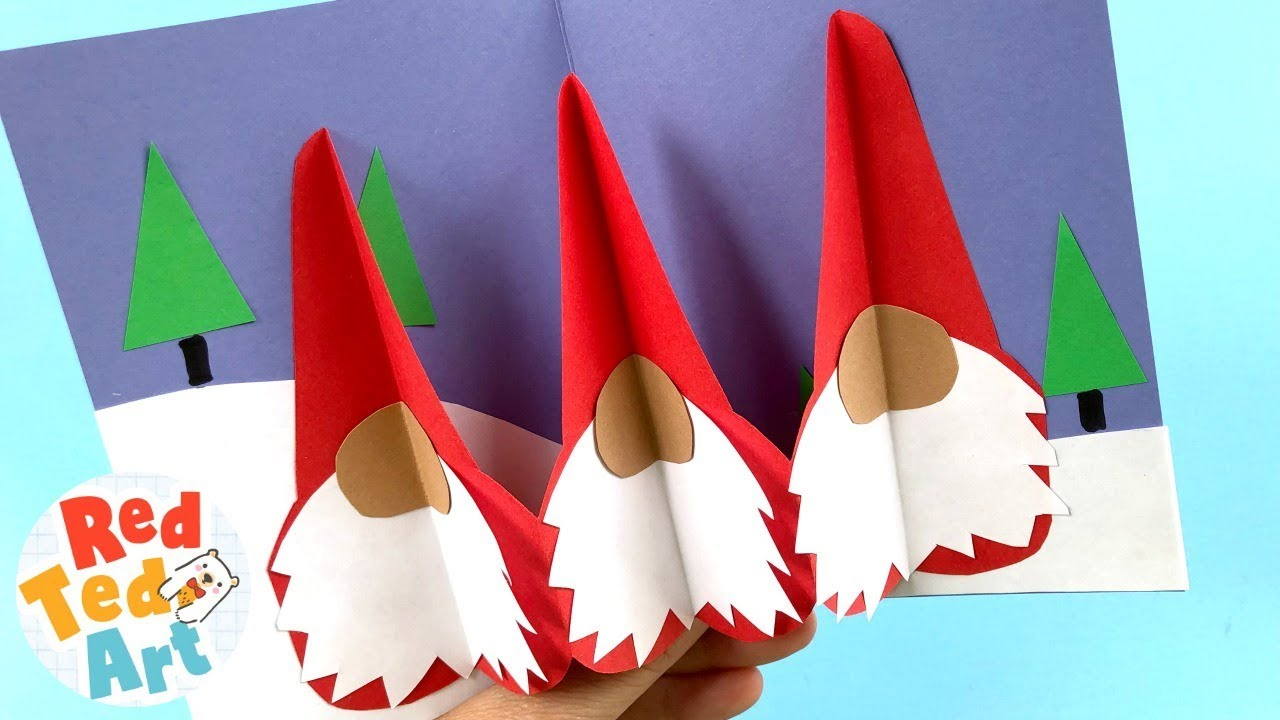 Easy Gnome Pop Up Card Diy 3d Christmas Card Designs For Kids Youtube