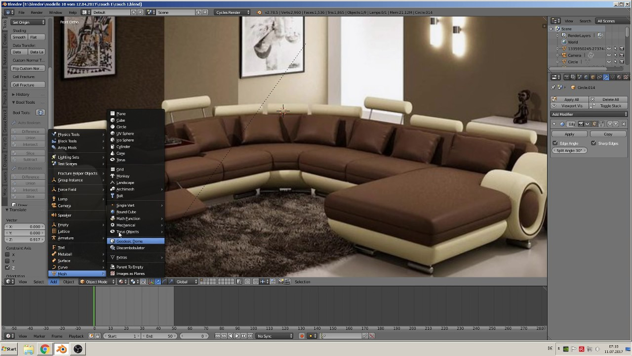 Kautsch Sofa Blender Tutorial Build A Couch Part 1 With Principled Shader Denoise