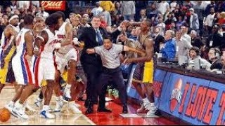 Ron Artest and Ben Wallace Fight in NBA Pacers Pistons Brawl Local HD Broadcast