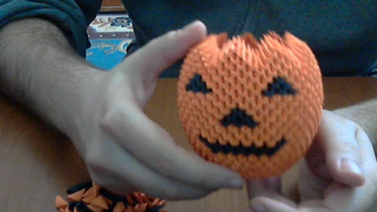 How to make 3d origami Halloween pumpkin