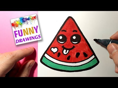 HOW TO DRAW A CUTE WATERMELON - Cute and Easy Drawing Tutorials