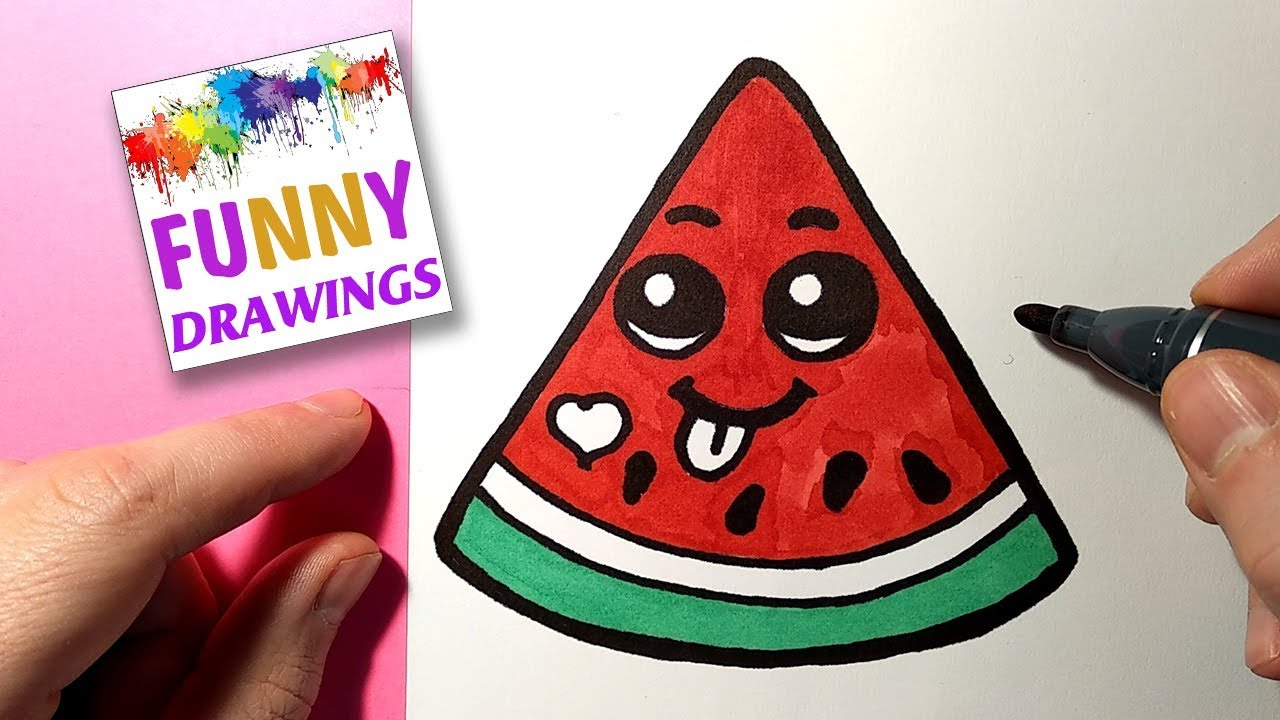 HOW TO DRAW A CUTE WATERMELON   Cute and Easy Drawing Tutorials